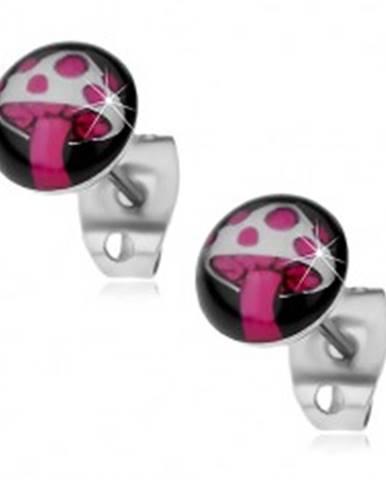 Náušnice z ocele 316L, ružovo-biela muchotrávka na čiernom kruhu X13.04