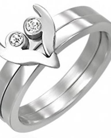 Oceľový prsteň z dvoch častí - srdiečko so zirkónmi D13.17 - Veľkosť: 43 mm