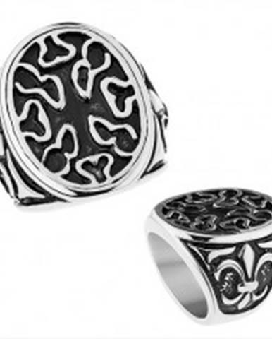 Patinovaný oceľový prsteň, ovál s nepravidelnými výrezmi, Fleur de Lis Z33.4/5 - Veľkosť: 56 mm