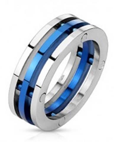 Prsteň z ocele - dvojfarebné oddelené prstence L3.10 - Veľkosť: 56 mm