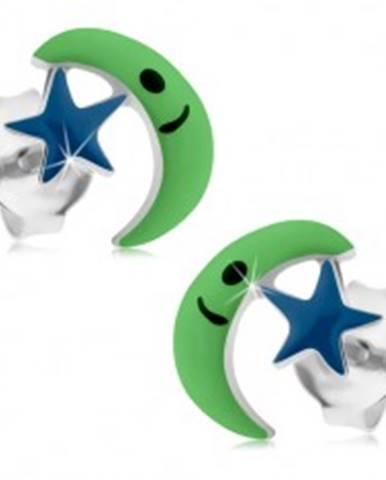 Puzetové náušnice zo striebra 925, zelený mesiac, modrá hviezda, glazúra I35.24
