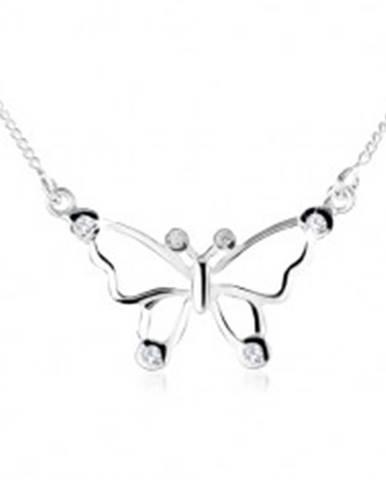 Strieborný náhrdelník 925, obrys motýľa ozdobený čírymi zirkónmi