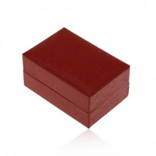 Darčeková krabička na prsteň alebo náušnice, tmavočervená farba, ryhy