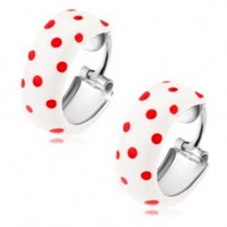 Kruhové náušnice zo striebra 925, biela glazúra s červenými bodkami I35.01