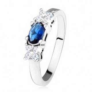 Lesklý prsteň - striebro 925, tmavomodrý oválny zirkón, štvorlístok, číre kamienky SP32.01 - Veľkosť: 49 mm