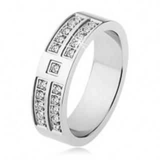 Lesklý prsteň z ocele striebornej farby, ozdobné línie čírych zirkónov SP17.08 - Veľkosť: 53 mm