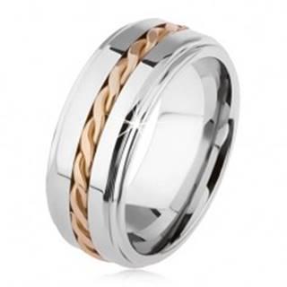 Lesklý tungstenový prsteň, strieborná farba, vyvýšená stredová časť, pletený vzor AB34.01 - Veľkosť: 49 mm