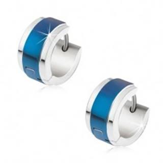 Náušnice z ocele striebornej farby, modrý lesklý pás uprostred