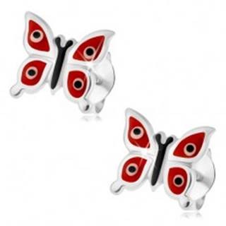 Náušnice zo striebra 925, lesklé červené motýliky - biele a čierne bodky, puzetky