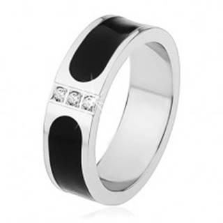 Oceľová obrúčka, strieborná farba, čierny glazúrovaný pás, tri číre zirkóny - Veľkosť: 53 mm