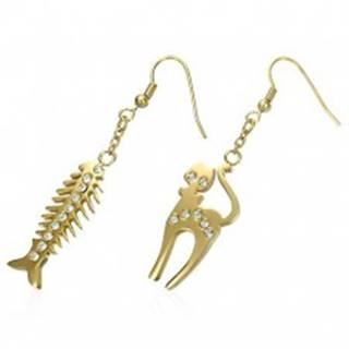 Oceľové náušnice zlatej farby - mačka a rybacia kosť, číre zirkóniky