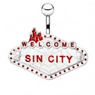 """Oceľový piercing do bruška - tabuľka """"WELCOME SIN CITY"""""""