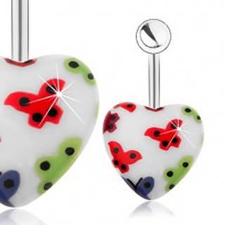 Oceľový piercing do pupku, akrylové srdce - biely podklad, farebné motýliky