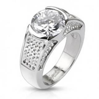 Oceľový prsteň - okrúhly zirkón a vyhĺbené bodkované pruhy - Veľkosť: 49 mm