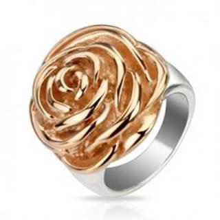 Oceľový prsteň - rozkvitnutý kvet ruže medenej farby L1.09 - Veľkosť: 51 mm