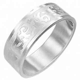 Oceľový prsteň TRIBAL SYMBOL  - Veľkosť: 54 mm