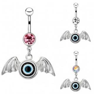Piercing do bruška z chirurgickej ocele - oko s krídlami, zirkón - Farba zirkónu: Číra - C