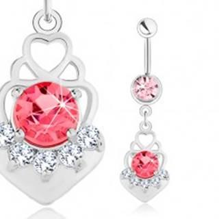 Piercing do pupka, oceľ 316L, ružový zirkón, srdcové obrysy, číre zirkóniky