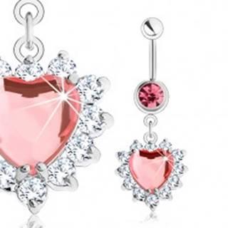 Piercing do pupka z ocele 316L, ružové zirkónové srdce, číry ligotavý lem