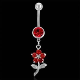 Piercing do pupku červený kvet