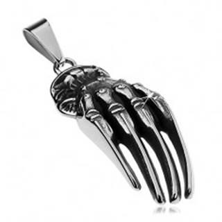 Prívesok z chirurgickej ocele striebornej farby, patinovaná ruka kostlivca