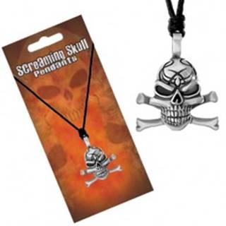 Šnúrkový náhrdelník, patinovaný prívesok lebky s prekríženými kosťami