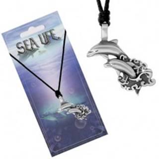 Šnúrkový náhrdelník s príveskom dvoch delfínov vyskakujúcich z mora S06.20