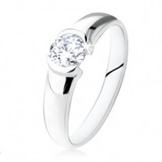 Strieborný zásnubný prsteň 925, okrúhly číry kamienok, lesklý povrch SP24.13 - Veľkosť: 48 mm