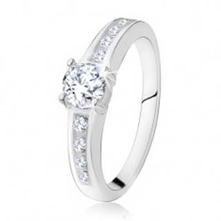 Strieborný zásnubný prsteň 925, okrúhly číry kamienok, zdobené ramená SP16.04 - Veľkosť: 48 mm