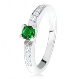 Strieborný zásnubný prsteň 925, okrúhly zelený kamienok, línie čírych zirkónov SP34.08 - Veľkosť: 49 mm