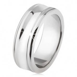 Titánový prsteň - strieborná farba, lesklý, prehĺbený stredný pás - Veľkosť: 54 mm