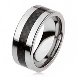 Tungstenová obrúčka striebornej farby s čiernym stredovým pásom, mriežka AB33.18 - Veľkosť: 49 mm