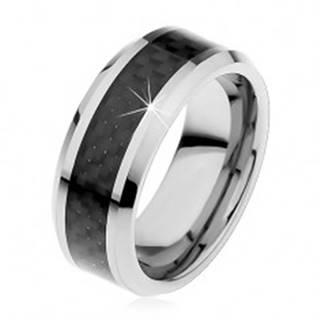 Tungstenová obrúčka striebornej farby, stredový pás z čiernych vlákien, 8 mm H4.12 - Veľkosť: 49 mm