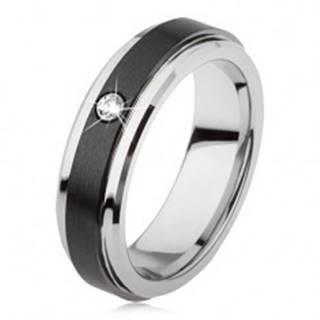 Volfrámový prsteň striebornej farby, čierny keramický pás, zirkón AB33.13 - Veľkosť: 49 mm