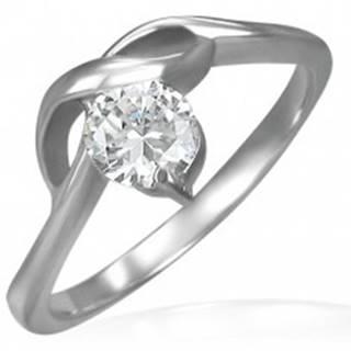 Zásnubný prsteň s okrúhlym čírym zirkónom a jemnými vlnkami - Veľkosť: 49 mm
