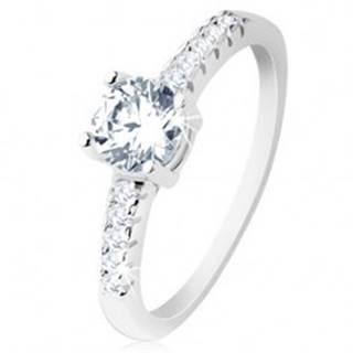 Zásnubný prsteň, striebro 925, ramená vykladané zirkónmi, okrúhly číry zirkón - Veľkosť: 49 mm