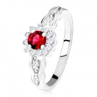 Zásnubný prsteň zo striebra 925, červený okrúhly zirkón s čírym lemom SP33.19 - Veľkosť: 49 mm