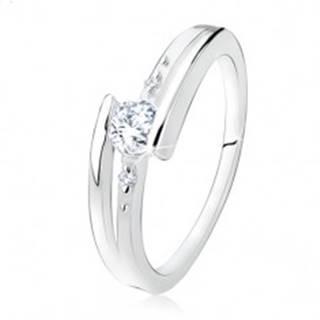 Zásnubný prsteň zo striebra 925, rozdvojené ramená, číry zirkón, guličky SP14.19 - Veľkosť: 49 mm