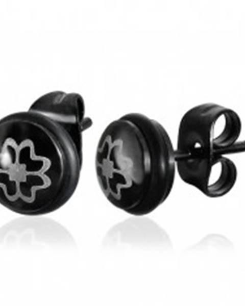 Čierne puzetové náušnice z ocele 316L, štvorlístok striebornej farby
