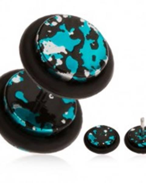Fake piercing do ucha z akrylu - fľaky čiernej, striebornej a tyrkysovej farby