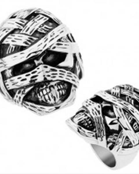 Masívny prsteň z ocele 316L, lesklý a patinovaný povrch, vypuklá múmia - Veľkosť: 57 mm