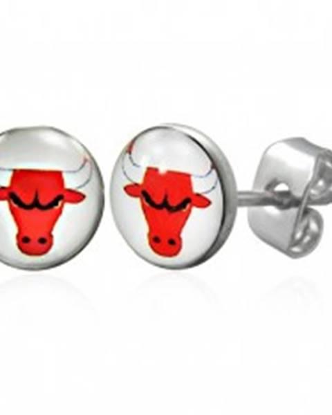Náušnice z ocele 316L- biely kruh s červenou hlavou býka