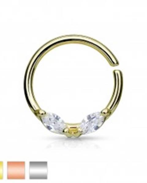 Oceľový piercing do nosa, krúžok, dva číre zrnkové zirkóny, rôzne farby - Farba: Medená