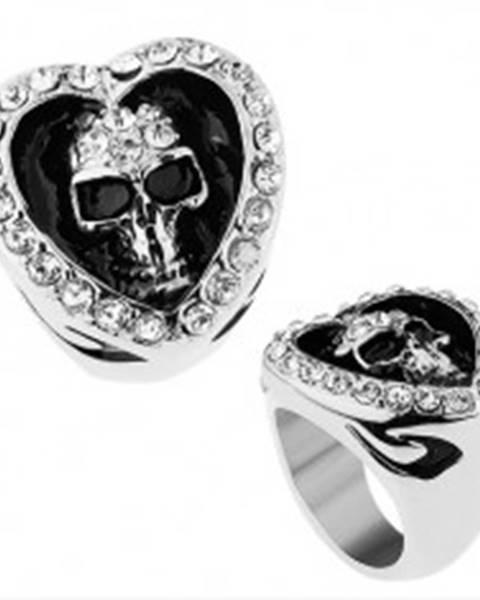 Prsteň z chirurgickej ocele, srdce zdobené čírymi zirkónmi, patinovaná lebka Z40.3/4 - Veľkosť: 56 mm