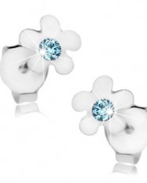 Puzetové náušnice, striebro 925, kvet s lesklými lupeňmi a modrým krištálikom