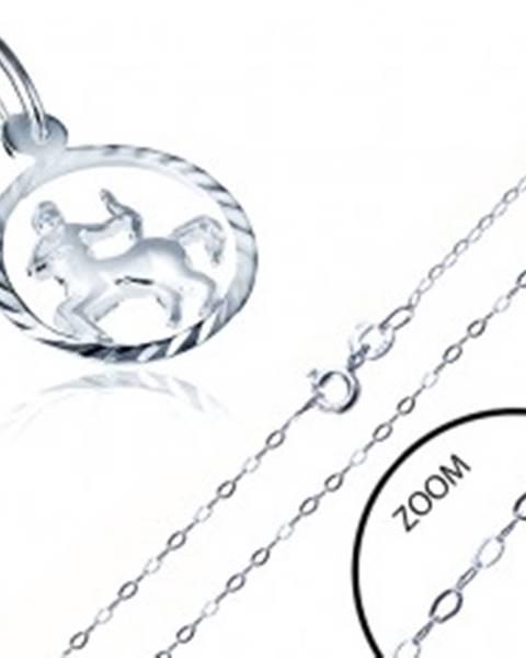 bc66a7b24 Strieborný náhrdelník 925 - jemná retiazka a prívesok znamenia STRELEC  AA33.09