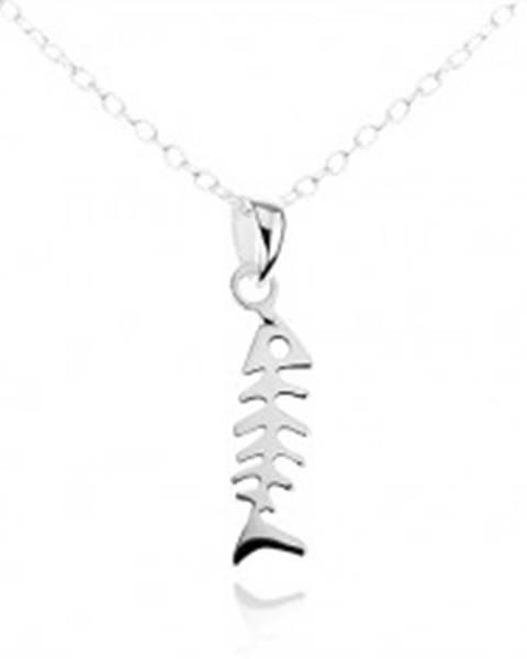 Strieborný náhrdelník 925, jemná retiazka, lesklá a plochá rybia kosť
