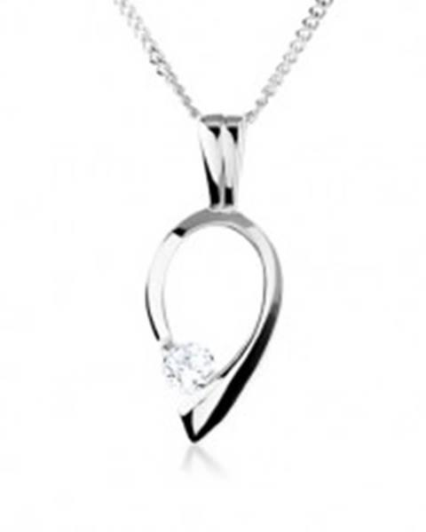 Strieborný náhrdelník 925, obrys obrátenej kvapky s čírym zirkónom