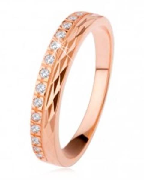 Strieborný prsteň 925 medenej farby, diamantový rez, zirkónová línia SP35.11 - Veľkosť: 50 mm
