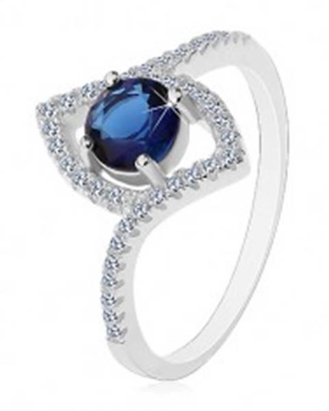 Strieborný prsteň 925, tmavomodrý okrúhly zirkón, obrys špicatého zrnka - Veľkosť: 57 mm